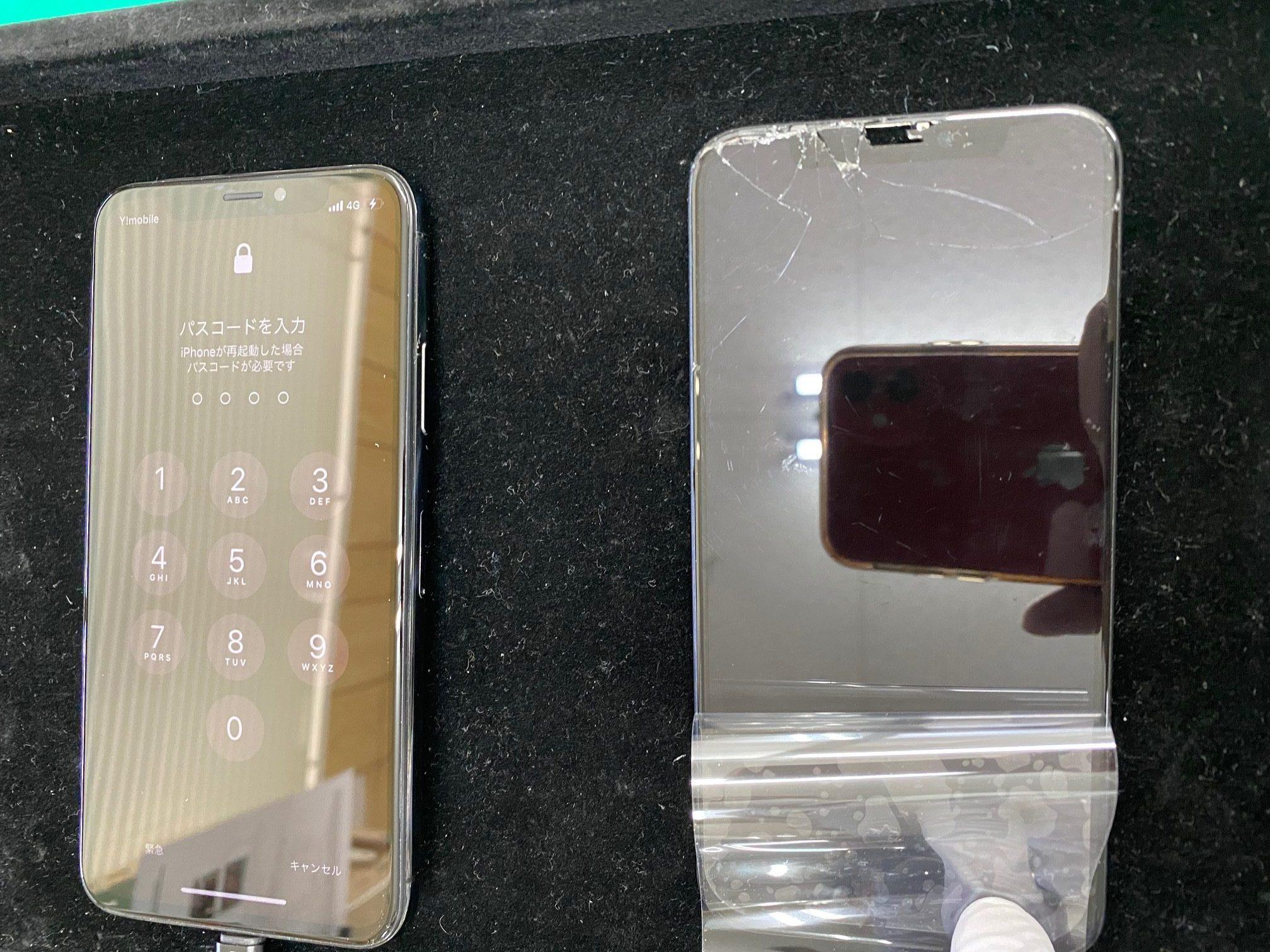 iPhoneXの液晶不良・画面ガラス割れで松本市内のお客様が修理持ち込みされました